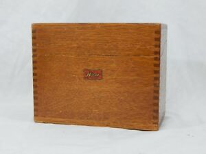 Antique Dovetailed Weis Wood File Box Recipe Index Id Approx 6 W X 5 D