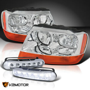 99 04 Jeep Grand Cherokee Chrome Headlights Pair 3w 6 led Bumper Drl Fog Lamps