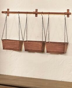 Antique Copper Triple Hanging Metal Wall Planters Country Farmhouse Rustic Decor