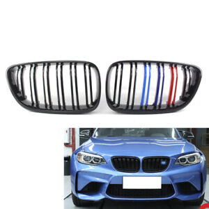 For Bmw F22 F23 2014 Cabriolet M Color Gloss Black Grille M2 Style 2 Slat Grill