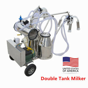 Commerical Movable Tank Milker Electric Vacuum Pump Milking Machine Cow Farm Use