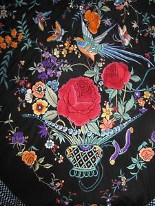 Antique Silk Shawl Chinese Embroidered Urns Birds Flowers Exquisite Canton Mint