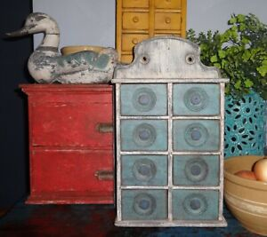 Antique 8 Drawer Spice Cabinet Box Cupboard Blue Cream Apothecary