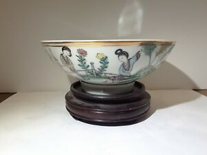 Antique Chinese Famille Rose Porcelain Bowl Ladies Calligraphy