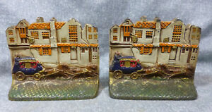 Antique English Manor With 4 In Hand Stagecoach Brass Book Ends