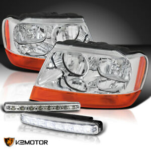 99 04 Jeep Grand Cherokee Chrome Headlights Pair 4w 8 led Bumper Drl Fog Lamps