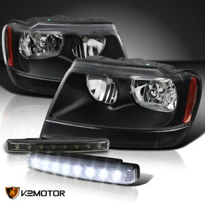 99 04 Jeep Grand Cherokee Black Clear Headlights 4w 8 led Black Drl Fog Lamps