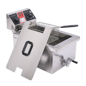 11 7l Commercial Restaurant Electric Deep Fryer Stainless Steel W Timer Drain