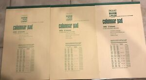 Lot Of 3 Boorum Pease Columnar Pads Paper Vintage 1960s 5 6 Columns 4905 8906