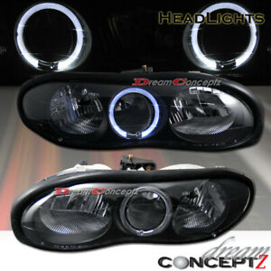 For 1998 2002 Chevy Camaro Halo Projector Headlights Black Style Pair L R