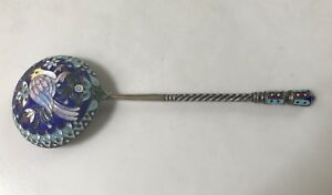 Antique Russian Silver Cloisonne Enamel Large Spoon