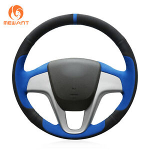 Black Blue Soft Suede Steering Wheel Cover For Hyundai Solaris Verna I20 Accent