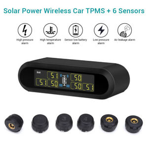 Solar Power Lcd Tpms Tire Pressure Monitor System 6 External Sensor For Van Rv