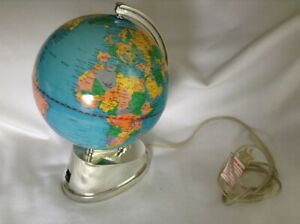Vintage Rotating Light Up Globe Electric Illuminated World Earth