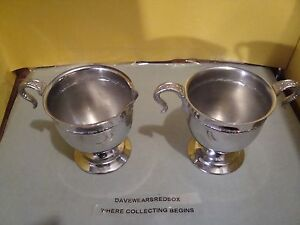 Vintage Silver Plated Sugar Bowl And Creamer Ex Condition Antique