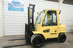 Hyster H80xm Forklift 8 000 Pneumatic Diesel Dual Wheels S s Fork Pos