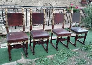 1900s Set Of 4 Chairs Antique Spanish Revival Carved Wood Giltwood