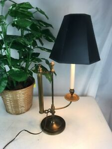 Vtg Rare Bouillotte Lamp Adjustable Sliding Shade Adjustment Brass Cooper