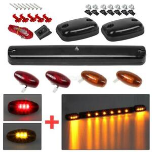 Smoked Cab Roof Top Amber Led Lights W red amber Side Marker For 07 14 Chevy gmc