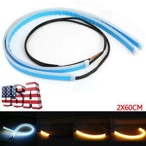 2pc 60cm Ultra Thin Drl Flexible Turn Signal Led Light Strip Lamp Car Headlights