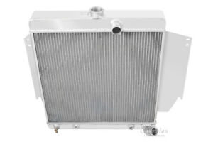 1965 1966 Plymouth Valiant Radiator Polished Aluminum 3 Row Champion Radiator