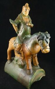 Chinese Ming Dyn Sancai Glaze Pottery Horse Rider Roof Tile 16 17th 13 1 8