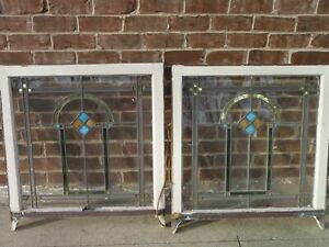 2 Set Antique 1920 S Chicago Bungalow Stained Leaded Glass Windows 32 X 30 Pair