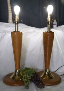 Mid Century Modern Matching Set Of 2 Wood And Brass Lamps Excellent