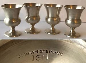 Set Of 4 Vintage Gorham Sterling Silver 1311 Goblets Cordial Cups 2 1 4 Tall