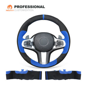 Custom Suede Car Steering Wheel Cover For Bmw M5 F90 X3 X5 8 Series G14 G15 G16