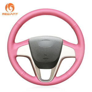Custom Pink Leather Steering Wheel Cover For Hyundai Solaris Verna I20 Accent