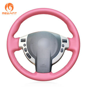 Custom Pink Leather Steering Wheel Cover For Nissan Qashqai X trail Nv200 Rogue