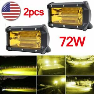 2pcs 72w 24 Led Car Offroad Work Light Bar Flood Beam Fog Driving Lamp Amber