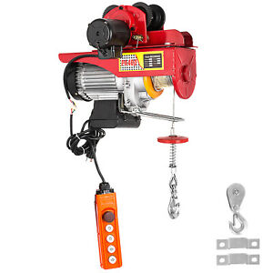Electric Cable Hoist W trolley 550 1100lbs 40 Feet Cable Length 110v