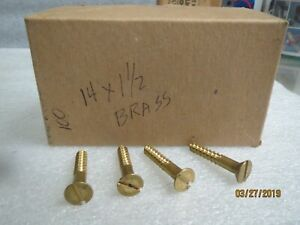 Wood Screws solid Brass Flat Head 14 X 1 1 2 New Lot Of 100 Screws