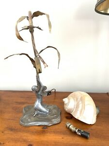 Antique Art Nouveau Nude Figural Shell Shade Desk Lamp Nautilus Seashell Restore