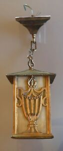 1900 Solid Metal Urn W Flame Deco Caramel Slag Hanging Porch Light Tudor 6 1