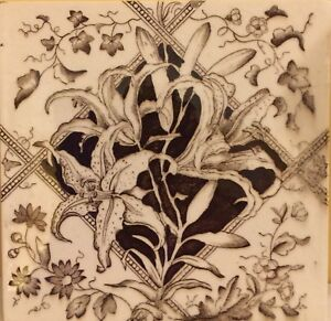 English Victorian Tile 6 Brown And Cream Floral Design W Lillies