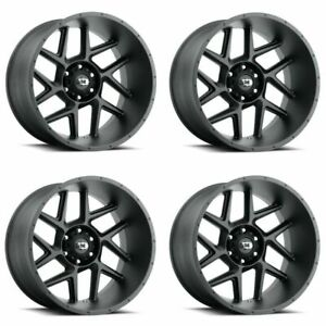Set 4 20 Vision Sliver 360 Satin Black Wheels 20x9 6x135 12mm Truck Rims