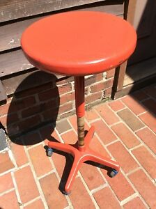 Vtg Ajustrite Metal Stool With Cast Base On Wheels Adj 20 To 29 Very Good