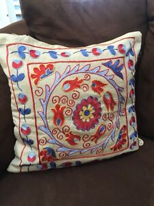 Multicolor Beutiful Uzbek Vintage Handmade Embroidery Suzani Pillow Case