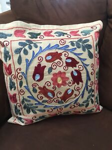Vintage Uzbek Handmade Original Multi Embroidery Suzani Pillow Case