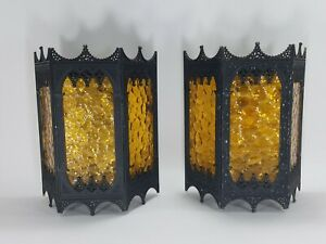Pair Of 1960 S Vintage Fancy Gothic Spanish Amber Glass Porch Lights Wall Mount