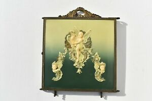 Antique Victorian Era Triple Folding Celluloid Mirror Winged Angel