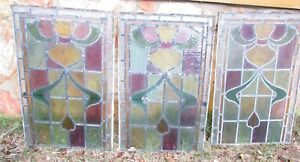 Antique Stained Glass Window Very Old Set Of 3