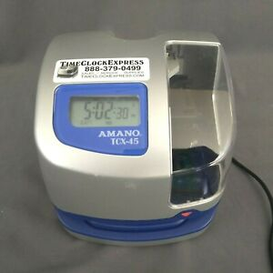 Amano Tcx 45 Atomic Digital Time Clock With No Key Digital Time Clock