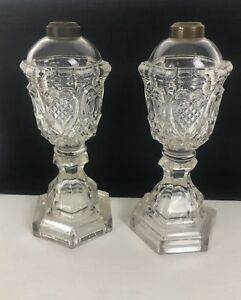 Pair Of Sandwich Glass Sweetheart Pressed Heart Whale Oil Lamps 10 Tall 1840