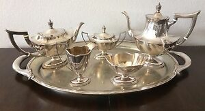 Gorham Sterling Silver Plymouth Coffee Tea Pot Set Tray 6 Pc No Monogram