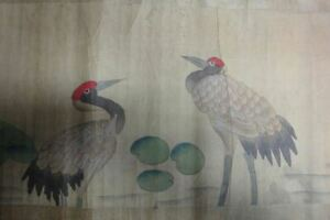 Very Long Old Chinese Scroll Hand Painting Vivid Cranes Shenquan Marks