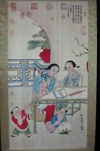 Very Large Fine Old Chinese Scroll Hand Painting Women And Kids Qiuying Marks